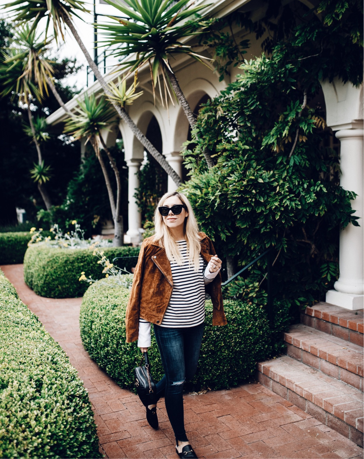 striped shirt with leather jacket,