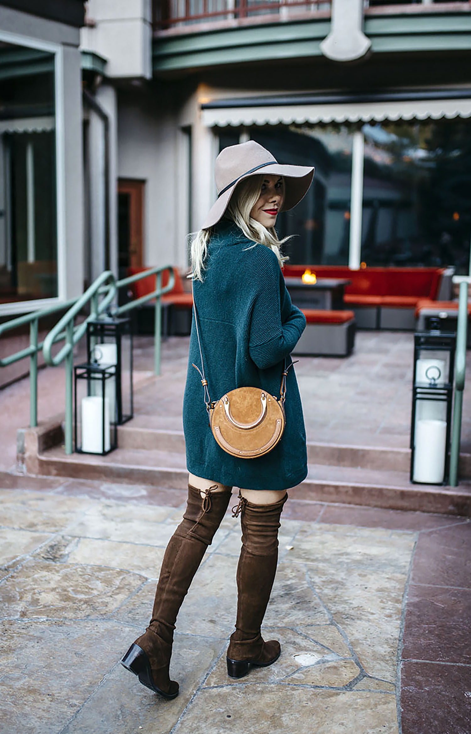 dark-green-sweater-dress-over-the-knee-boots