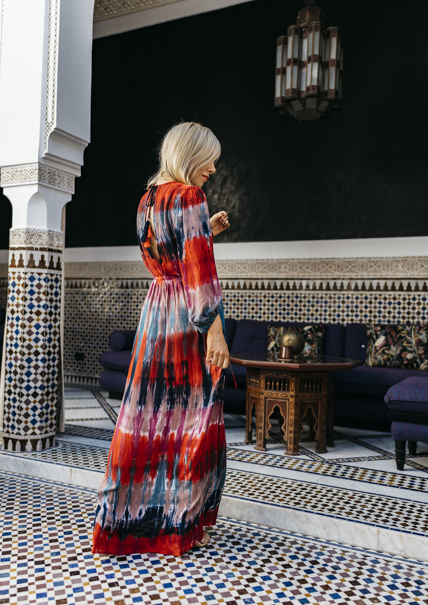 Tie dye dress, Marrakesh fashion blogger
