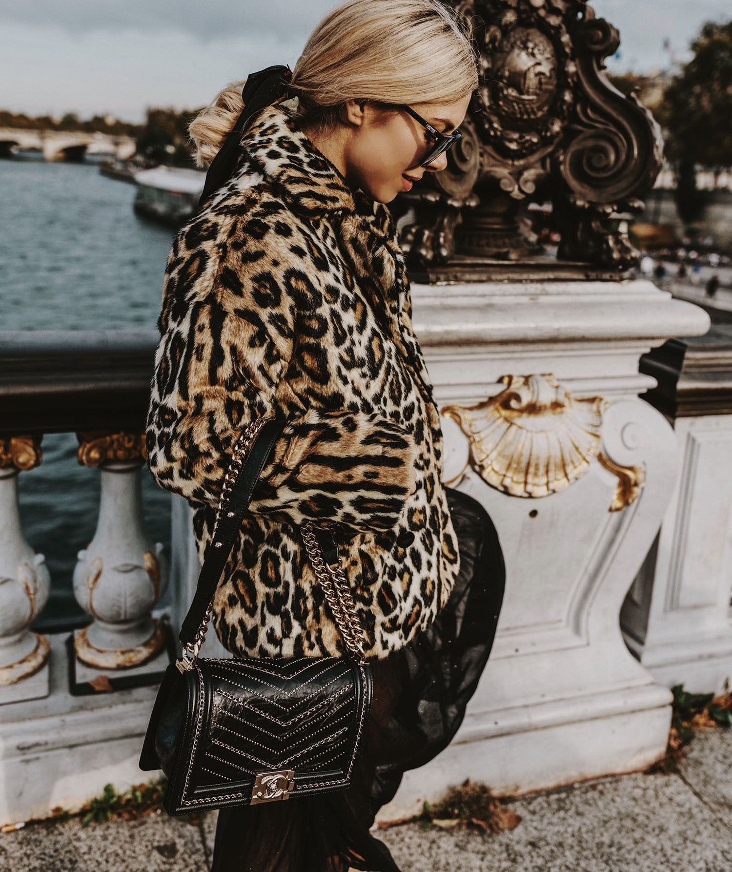 leopard coat Chanel chain Boy bag, cutest leopard animal print coats